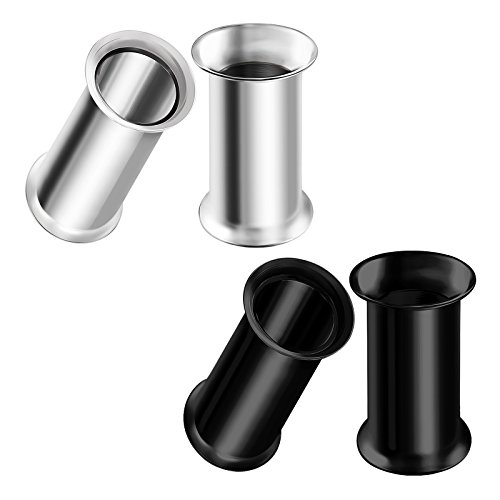 BIG GAUGES 2 Pairs Surgical Steel 4gauges 5 mm Black Anodized Double Flared Piercing Jewelry Earring Stretcher Plug Tunnel Lobe BG0631