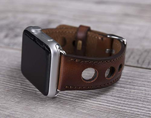 Full Grain Leather Burnished Brown Holo Apple Watch band, 42mm, 38mm, 40mm, 44mm for series 1-2-3-4