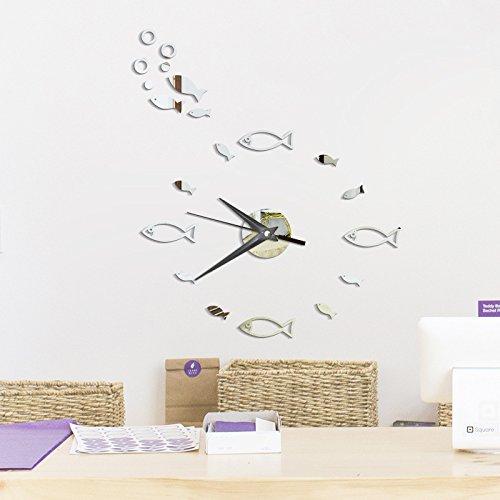 Muicatte DIY Cartoon Fish Acrylic Mirror Wall Clock Stickers Home Decor Fish Animal Wall Clock