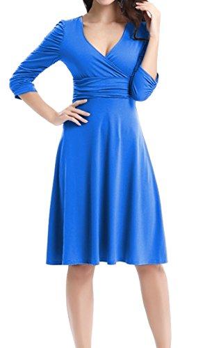 DELEY Retro Elegante V Vestido Dress 3 Casual Cuello Fiesta Mujer Azul Cóctel Manga 4 rCwqgnXr