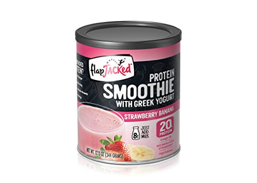 FlapJacked Protein Smoothie Mix with Greek Yogurt, Strawberry Banana, Can (8 Servings)