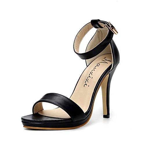 LvYuan-mxx Sandalias de las mujeres / verano de la primavera / tobillo ocasional correa leatherette / talón de estilete punta toe / hebilla / oficina y carrera de vestir / tacones altos , 39 , black 37-BLACK