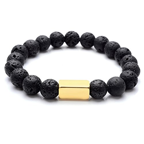 Top Plaza Aromatherapy Essential Oil Diffuser Lava Rock Stone Reiki Healing Energy Yoga Meditation Elastic Bracelet 10MM Bead(Gold) (Gold Rectangular Bracelets)