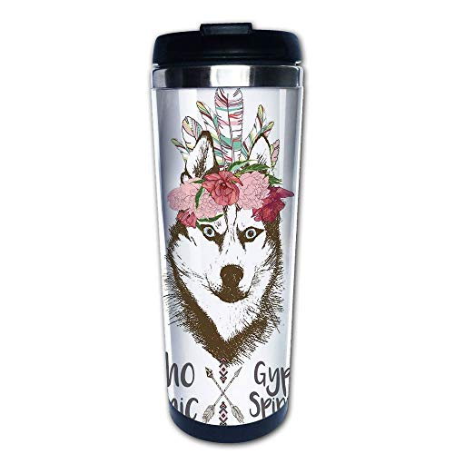 Stainless Steel Insulated Coffee Travel Mug,Head Portrait of Siberian Husky Dog Tribal Arrow,Spill Proof Flip Lid Insulated Coffee cup Keeps Hot or Cold 13.6oz(400 ml) Customizable printing (Siberian Husky Porcelain)