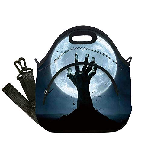 Insulated Lunch Bag,Neoprene Lunch Tote Bags,Halloween Decorations,Zombie Earth Soil Full Moon Bat Horror Story October Twilight Themed,Blue Black,for Adults and children -