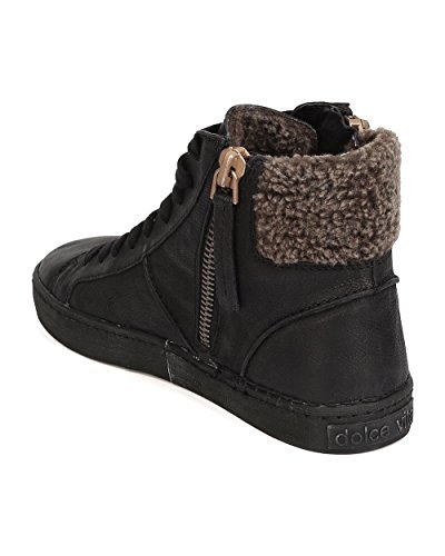 Dolce Vita Zola Leather Lace Up Zippered Shearling Lined Sneaker - Black hpzkX9qg