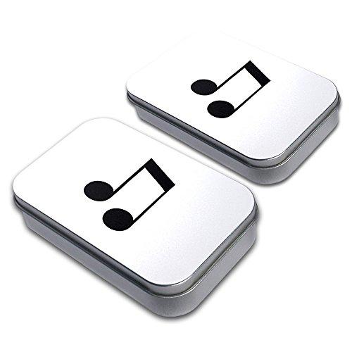 Musical Note Decorative Craft Trinket Metal Tin Box Set of 2