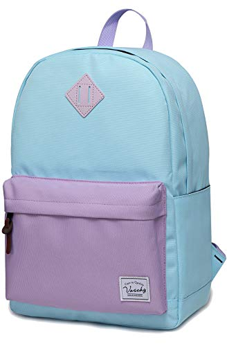 Backpack for Teen Girls, Vaschy Classic Water Resistant School College Bookbag Casual Daypack Travel Rucksack with Bottle Pockets Fits 15Inch Laptop (Sky Blue Purple)