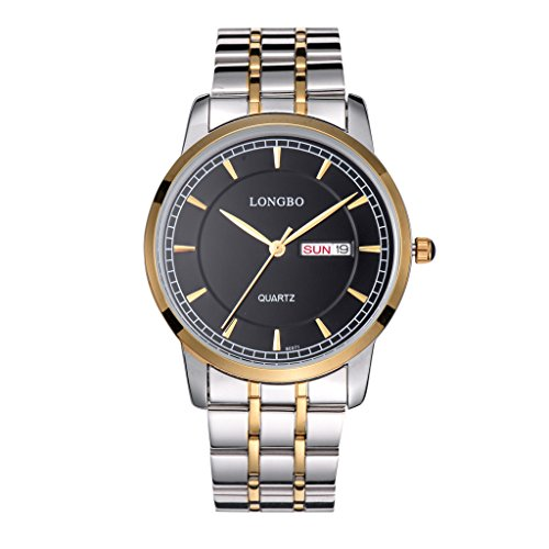 LONGBO Mens Waterproof Business Quartz Wrist Watch Casual Gold Tone Stainless Steel Strap Couple Dress Watches Auto Day Date Calendar Multifunction Watch for Man by LONGBO