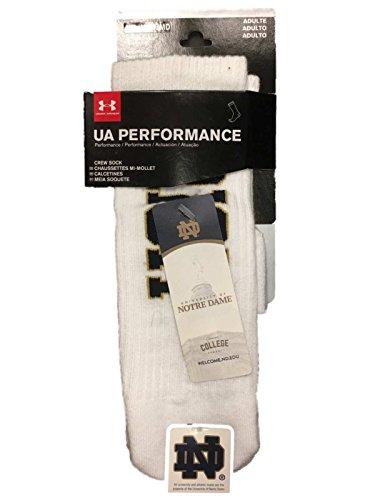 (Notre Dame Fighting Irish Under Armour Performance Men's White Crew Socks (L))