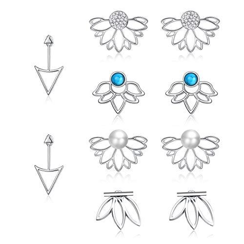 JieyueJewelry 5 Pairs Ear Jackets for Women Girls, Lotus Flower Earring Jackets Crystal Simple Chic Earrings Front Back Stud Earrings Set Women Fashion Jewelry (Silver-3)