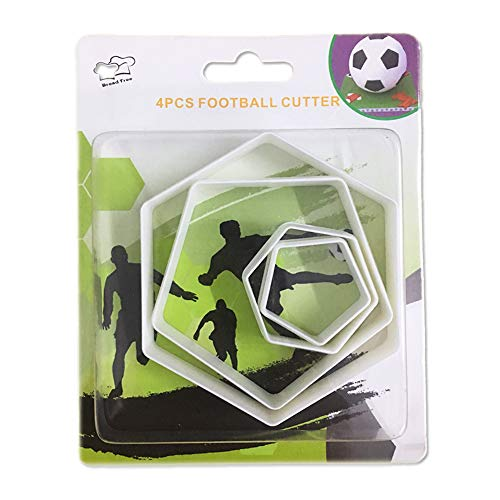 SAKOLLA Soccer Ball Cookie Cutter,Hexagon Cookie Cutter,Football Cake Decorations - 4 Sizes Biscuit Cutters/Sandwiches Cutter/Pastry Cutters