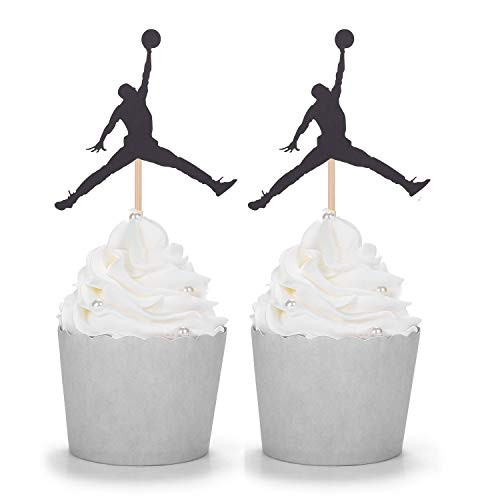 Set of 24 Black Jordan Basketball Cupcake Toppers Kids¡® Birthday Party -
