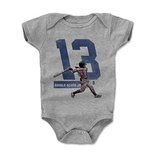 500 LEVEL Ronald Acuna Jr. Baby Clothes, Onesie, Creeper, Bodysuit 3-6 Months Heather Gray - Atlanta Baseball Baby Clothes - Ronald Acuna Jr. Grunge - Grunge Bib