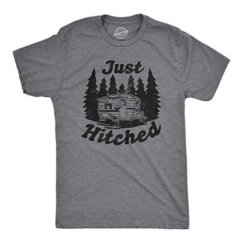 (Crazy Dog T-Shirts Mens Just Hitched Tshirt Funny Newlyweds Camping Tee (Dark Heather Grey) - 5XL)