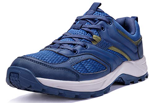 CAMEL CROWN Hiking Shoes for Men Tennis Trail Running Backpacking Walking Shoes Comfortable Slip Resistant Sneakers Lightweight Athletic Trekking Low Top Boot Blue 10.5D(M)