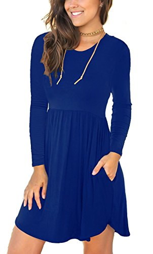 Viishow Women's Long Sleeve Casual Dresses Loose Plain Mini Dresses with Pockets Royal Blue,S (Love A Line Mini Dress With Pockets)