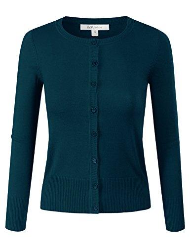 ELF FASHION Women Top Button Crew Neck Cardigan Sweater (Size S~3XL) Deepteal S