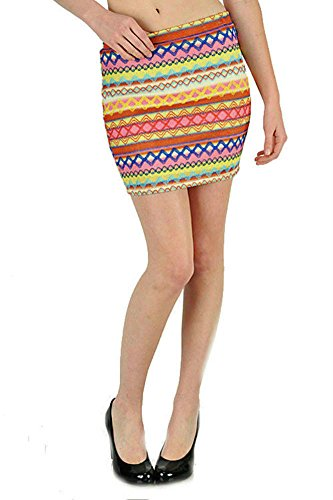 Skirt Mini S M L Ikat Colorful Pastel Zig Zag Embroidered Woven Summer Stretch (Large, (Embroidered Woven Skirt)