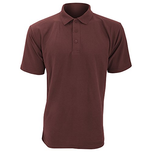 Ultimate Pique Shirt - Ultimate Clothing Collection UCC 50/50 Mens Plain Piqué Short Sleeve Polo Shirt (L) (Burgundy)
