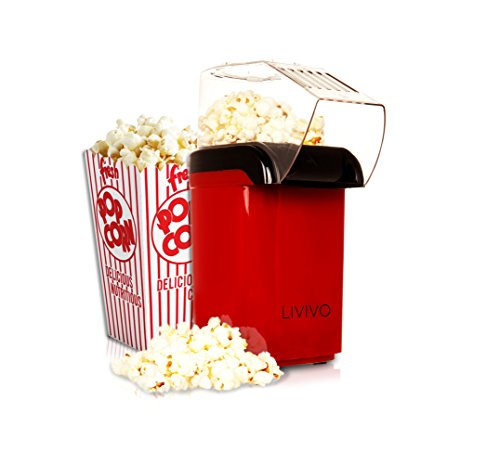 LIVIVO ® Electric Popcorn Maker 1200w Fat Free Hot Air Popcorn Maker Popper Machine Red – Easy To Make Healthier Snack Popcorn within 3 Mins
