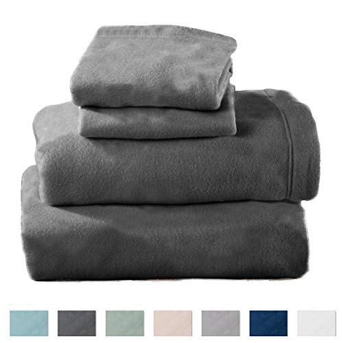 Home Fashion Designs Maya Collection Super Soft Extra Plush Polar Fleece Sheet Set. Cozy, Warm, Durable, Smooth, Breathable Winter Sheets in Solid Colors Brand. (Queen, Charcoal)