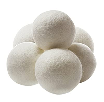 Leyaron Premium Wool Dryer Balls, Reusable Natural Fabric Softener and Dryer Sheets, 100% Pure Organic Wool to the Core, Perfect for Cloth Diapers, Set of 6