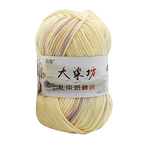 Chunky Colorful Hand Knitting,Sonmer Crochet Milk Soft Baby Cotton Crochet Knitwear Wool Yarn (A2)