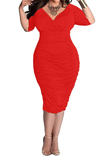 POSESHE Womens Plus Size Deep V Neck Wrap Ruched Waisted Bodycon Dress (XXL, Red)