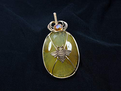 Queen Honey Bee Pendant in 14 k Gold Filled Wire and Yellow Agate For Beekeeper