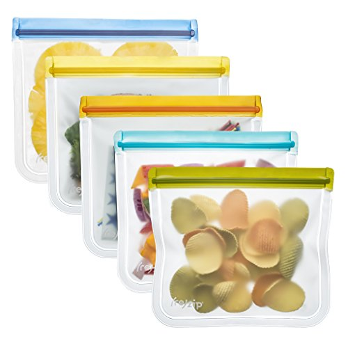 - rezip Lay-Flat Lunch Leakproof Reusable Storage Bag 5-Pack (Multi Color)