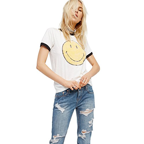 Emoji T Shirt Women Vintage White Funny Graphic Tumblr Cute Smiley Face Tees Tops (White, L)