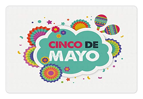 - Lunarable Cinco de Mayo Pet Mat for Food and Water, Mexican Fiesta Themed Typographic Image with Festive Ornaments and Maracas, Rectangle Non-Slip Rubber Mat for Dogs and Cats, Multicolor