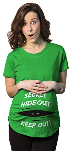 Crazy Dog TShirts - Maternity Secret Hideout Baby Peeking Maternity Shirt Funny Pregnancy Shirts - Camiseta De Maternidad Verde