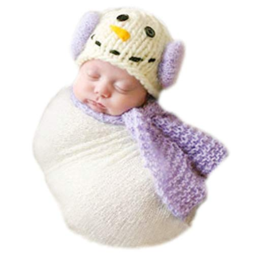 - Christmas Newborn Baby Photo Prop Boy Girl Photo Shoot Outfits Crochet Knit Costume Unisex Cute Infant Snowman hat scarf (purple)