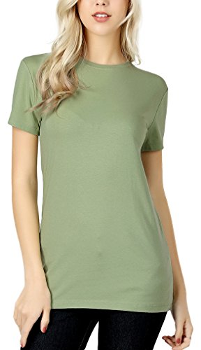 ToBeInStyle Women's Slim Fit Crew Neck S.S. Longline Tee - Sage - Medium