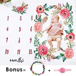 Baby Monthly Milestone Blanket, Floral Photo Props Backdrop Blanket for Newborn Girl (Bonus Floral Headband and Frame) Reuseable Premium Personalized Growth Background Blanket Baby Shower Gifts (Baby Girl Frame)