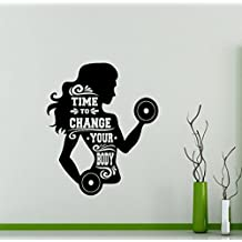 Gym Wall Decal Time To Change Your Body Girl Motivational Quote Fitness Vinyl Sticker Home Sport Motivation Gym Poster Art Decor Quote Inspirational Words Lettering CrossFit Workout Mural 134gy