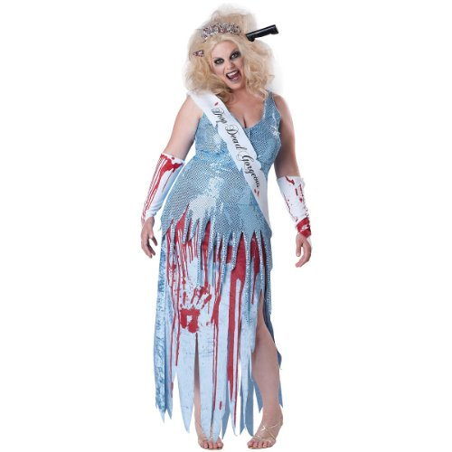 InCharacter Costumes, LLC Plus-Size Drop Dead Gorgeous, Blue/White/Red, XX-Large (Dead Prom Queen Halloween Costume)