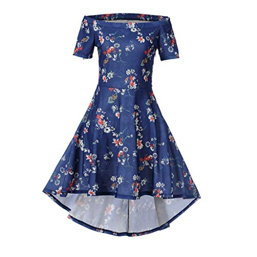 Keliay Bargain Women Retro Bodycon Printing Short Sleeve Evening Party Ball Swing Dress