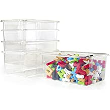 Guidecraft Clear Classroom Storage Bins for Toys, Supplies – Set of 5