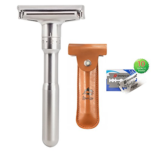 Safety Shaving Razor Set, River Lake RZ700 Long Handle Stainless Adjustable Double Edge Classic Safety Shaver Razor (Razor Ver.A (Adjustable Safety Razor)