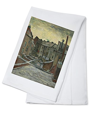 Houses Seen from the Back - Masterpiece Classic - Artist: Vincent Van Gogh c. 1885 (100% Cotton Kitchen Towel)