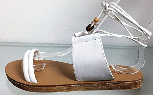 Breckelles Tess-07 Kunstlær Gladiator Åpen Tå Ankel Tie Dusk Opp Flat Sandal Sko Hvit Hvit