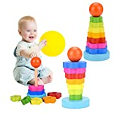 Chengcaifengye Rainbow Stacker Toy, Wooden Geometric Stacker Shape Tower Rianbow Color Educational Stack Up Toys for kids