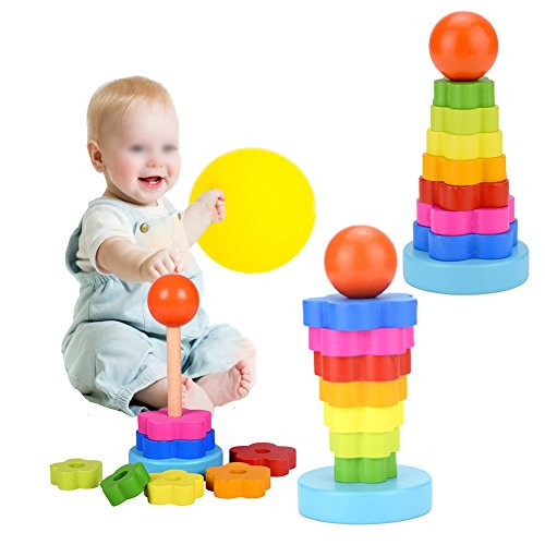 - Chengcaifengye Rainbow Stacker Toy, Wooden Geometric Stacker Shape Tower Rianbow Color Educational Stack Up Toys for kids