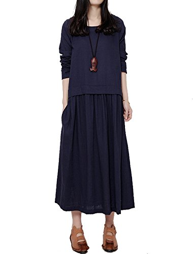 Women's Fall Long Sleeve Dress Cotton Dress Linen Maxi Dr...