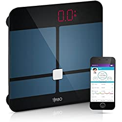 Bluetooth Body Fat Scale BMI -with App for iOS and Android Wireless Digital Bathroom Scale – Measures Body Weight, Body Water, Muscle Ratio, Body Fat, BMI, Bone Mass BMR & Visceral Fat - by Tiabo