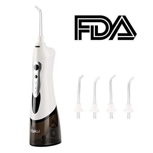 Vtakol Cordless Water Flosser Oral Irrigator IPX7 Waterproof Dental Flosser Portable Design Rechargeable Battery with 4 Tips+USB Charger+Storage Bag