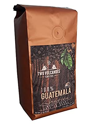 Two Volcanoes Whole Bean Coffee - Guatemalan Organic, Gourmet & Rare, Single Origin Coffee Beans. The Best Arabica Medium Roasted Beans From Guatemala. Great for Espresso or as a Gift.